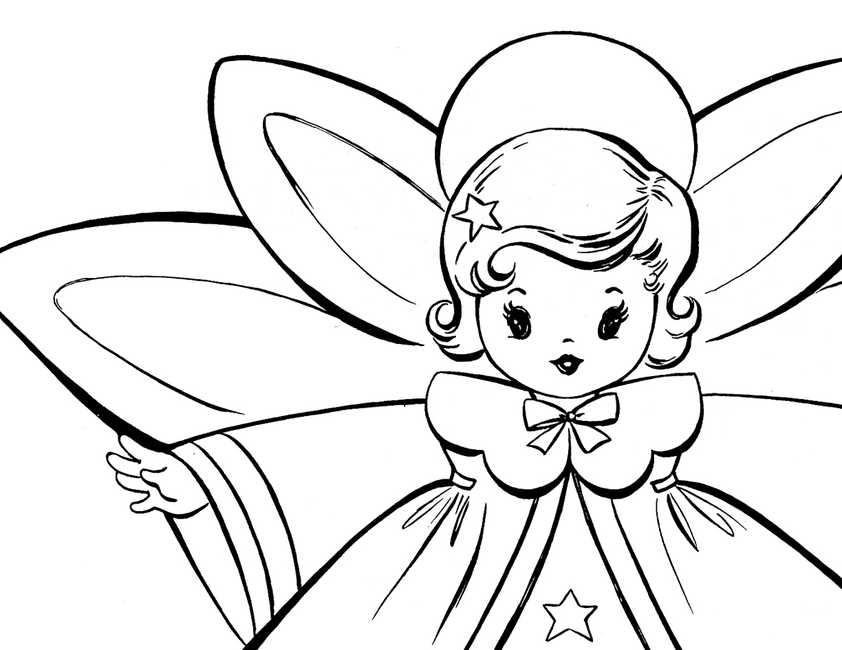 free christmas coloring pages retro angels the graphics fairy - Coloring Pages Beautiful Angels