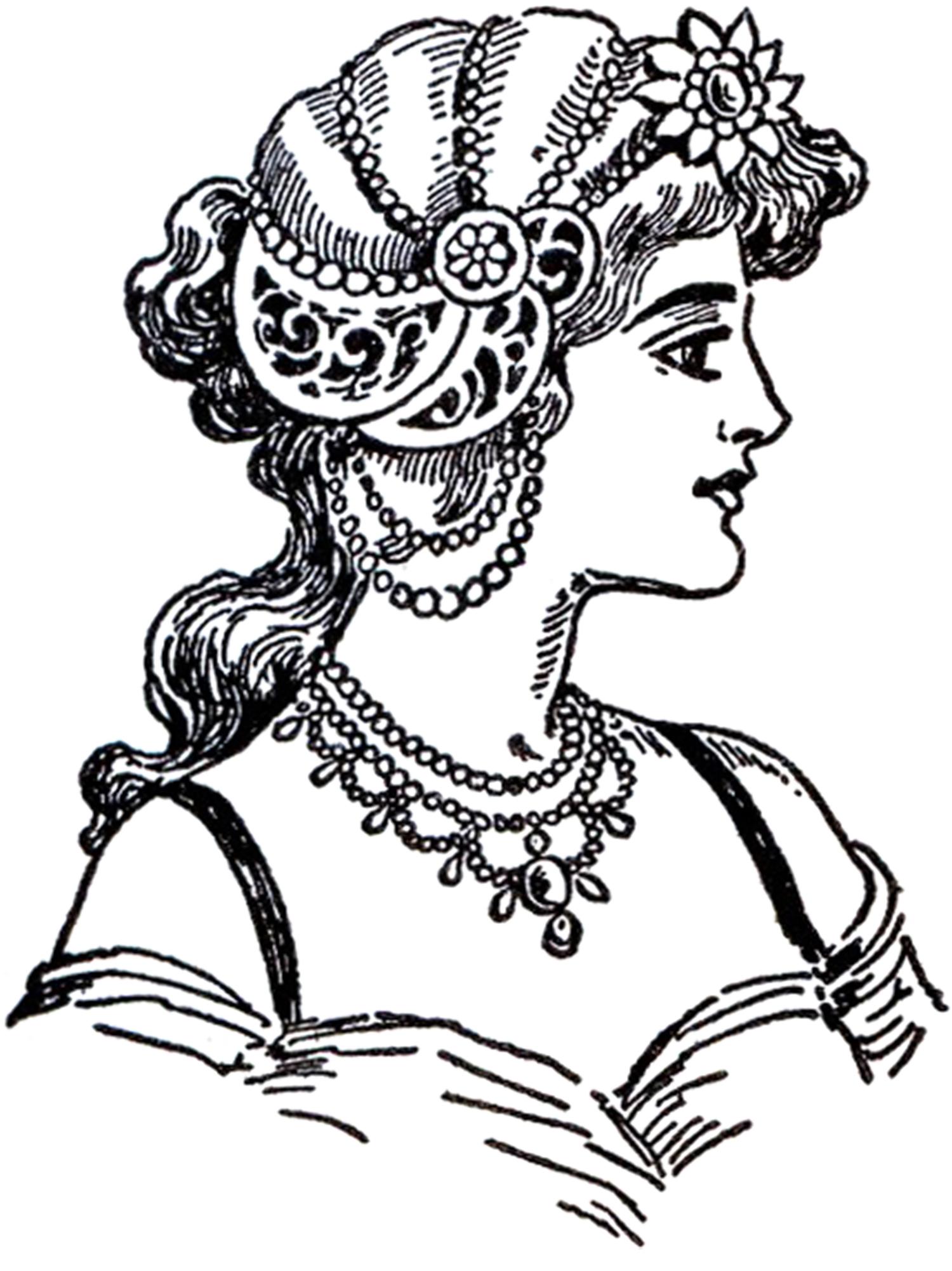 Jewelry Design Line Art : Art nouveau lady images the graphics fairy