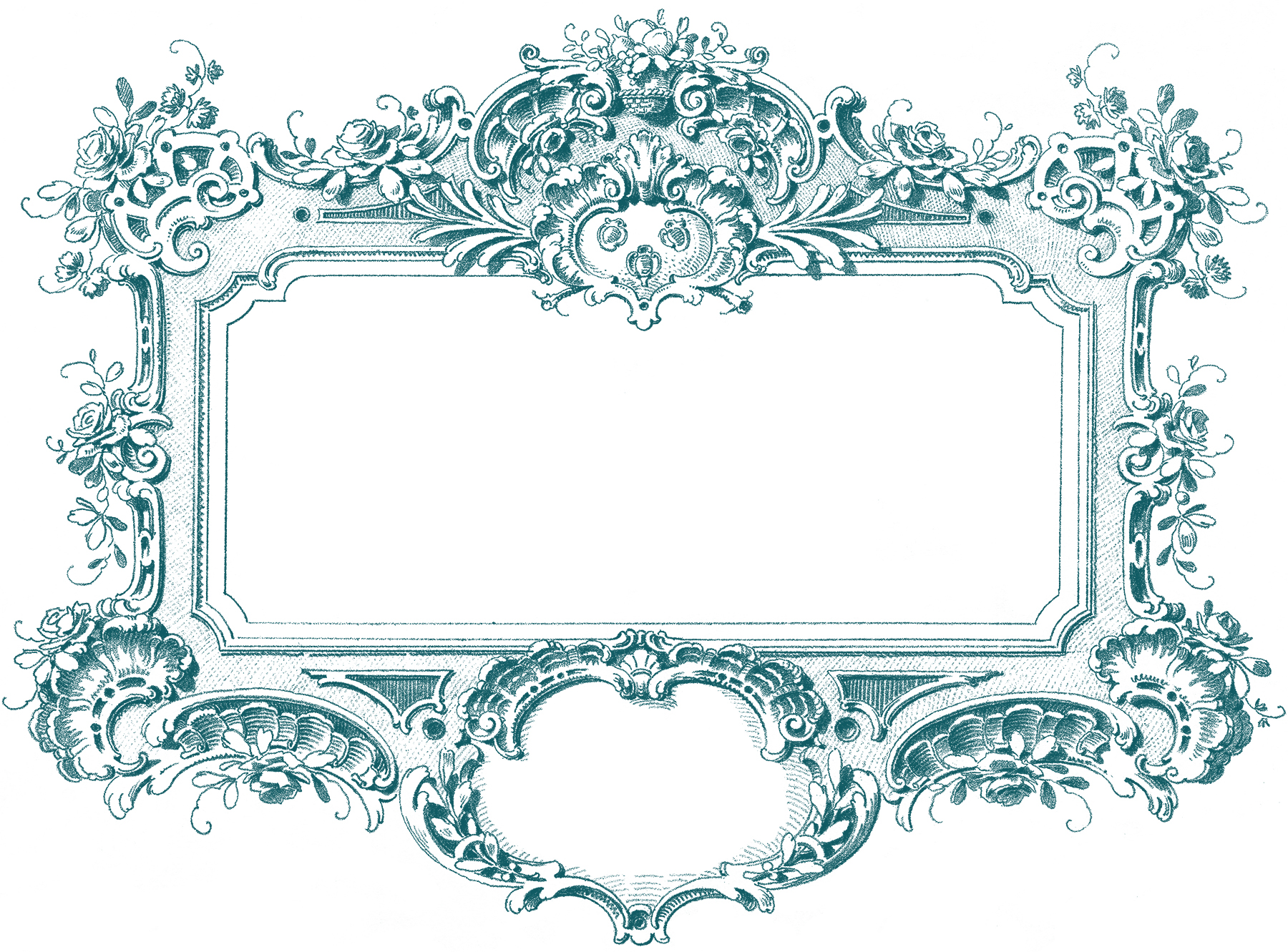 Baroque Frame Image GraphicsFairy Teal  The Graphics Fairy