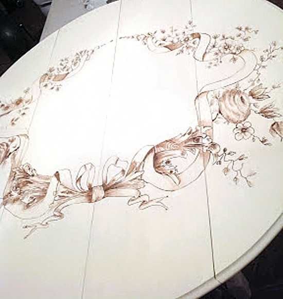 Beautiful Annie Sloan Chalk Painted Table with The Graphics Fairy Images