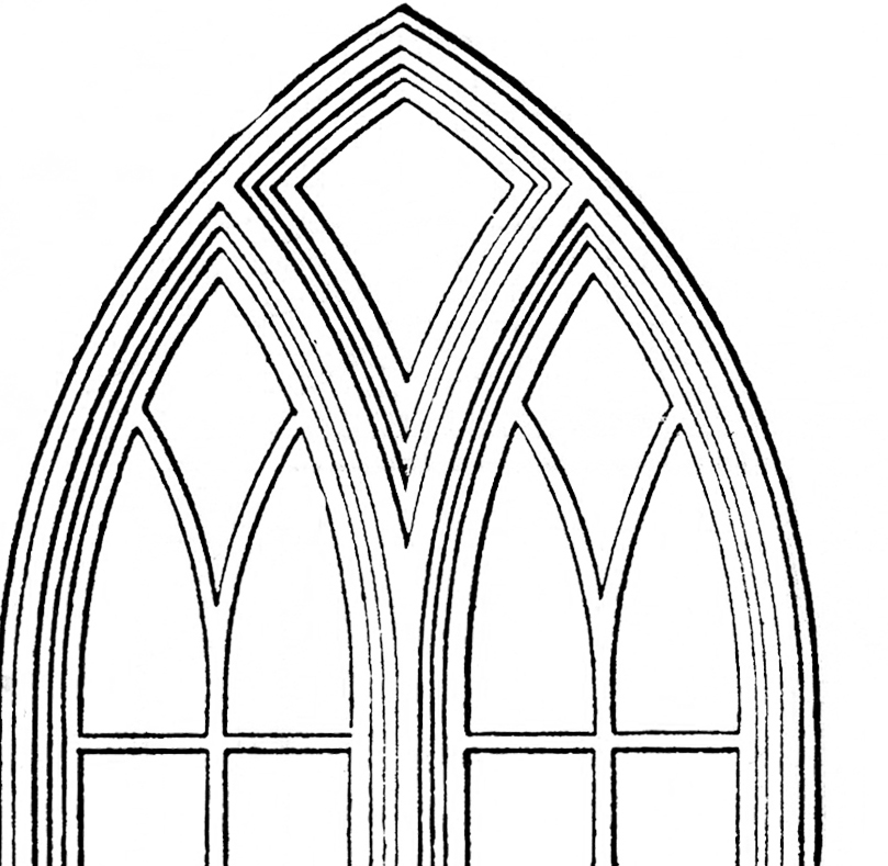 Gothic church windows clip art the graphics fairy for Window design art
