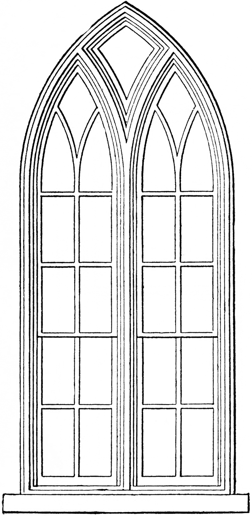 Gothic church windows clip art the graphics fairy for Old black and white photos for sale