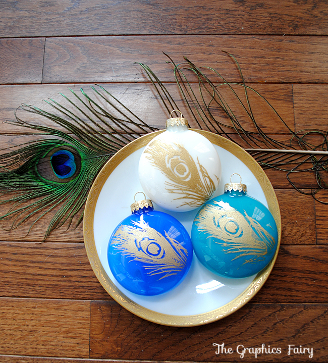 Easy Christmas Ideas - Painted Peacock Ornaments - The Graphics Fairy
