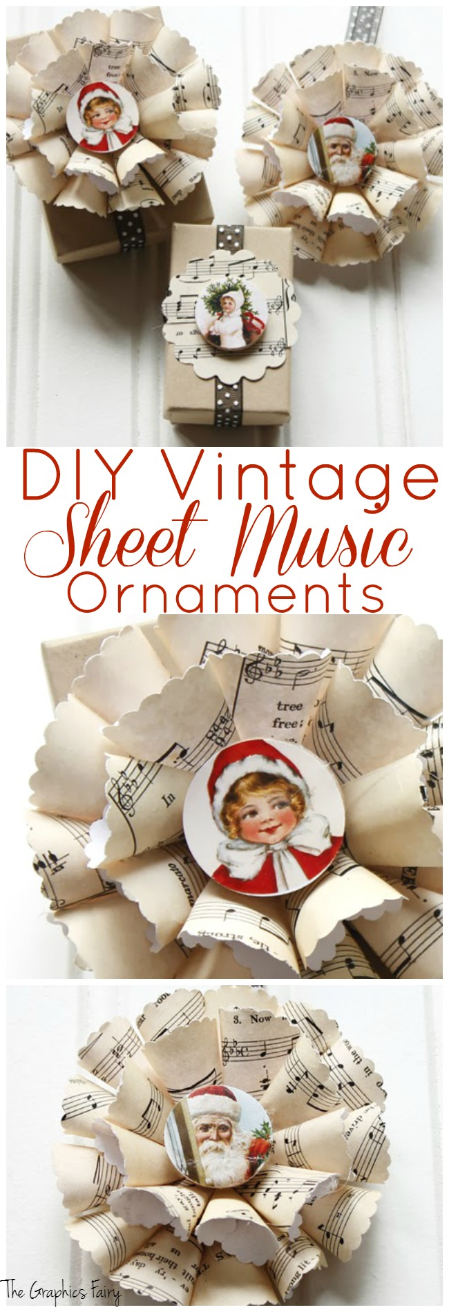 Wonderful Sheet Music Christmas Ornaments - The Graphics Fairy ED34