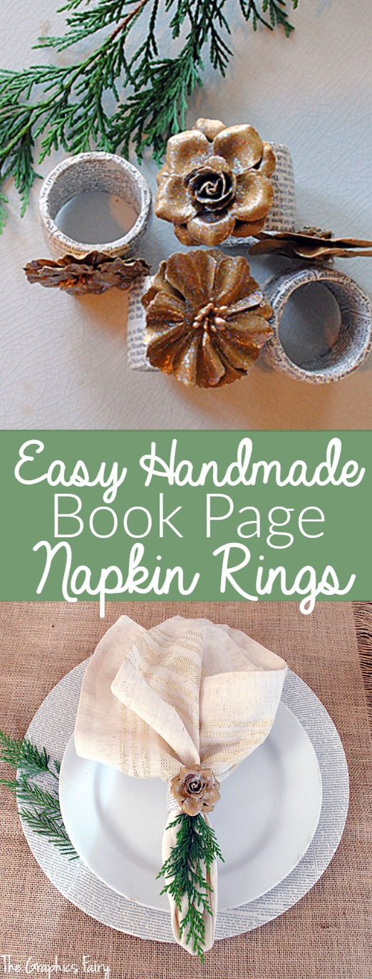 Easy Handmade Book Page Napkin Rings - an easy tutorial from The Graphics Fairy