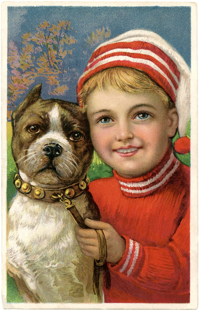 Free Christmas Picture Adorable Boy with Dog The