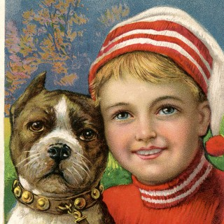 Free Christmas Picture – Adorable Boy with Dog!