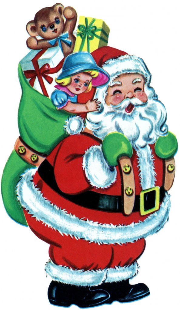 Free Christmas Picture - Retro Santa with Toys - The ...