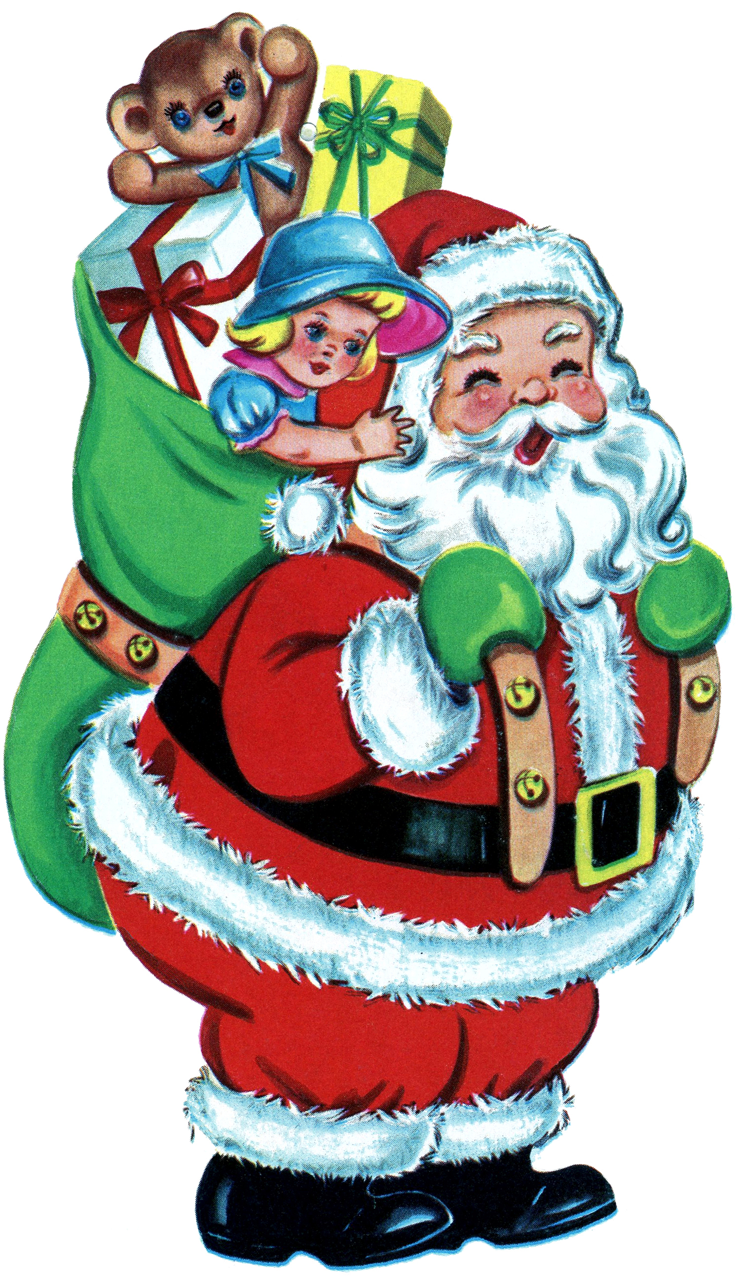 Toys At Christmas : Free christmas picture retro santa with toys the