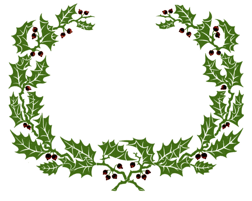 Green Red Holly Wreath Image