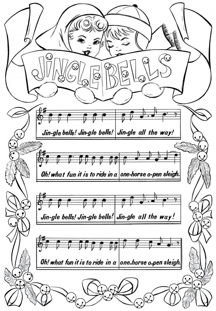 Printable Christmas Coloring Page Jingle Bells The
