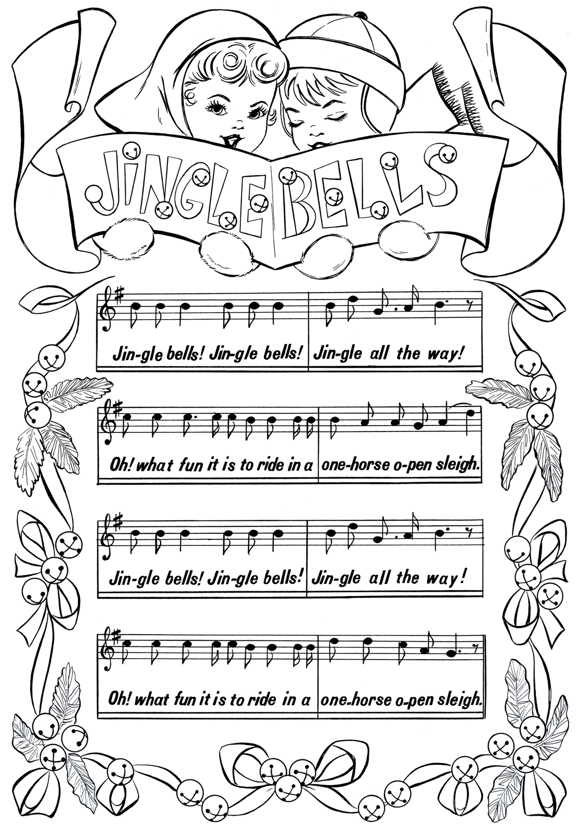 picture about Jingle Bells Lyrics Printable named Printable Xmas Coloring Site - Jingle Bells - The