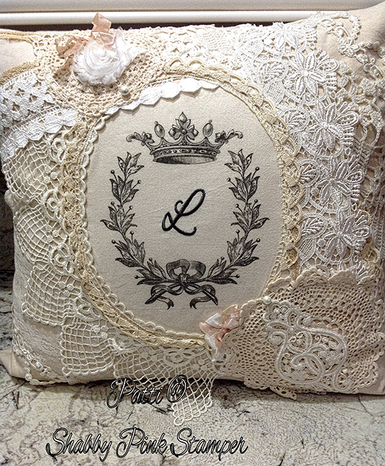 Embroidered Lace Pillow using The Graphics Fairy's Wreath with Crown Transfer Printable
