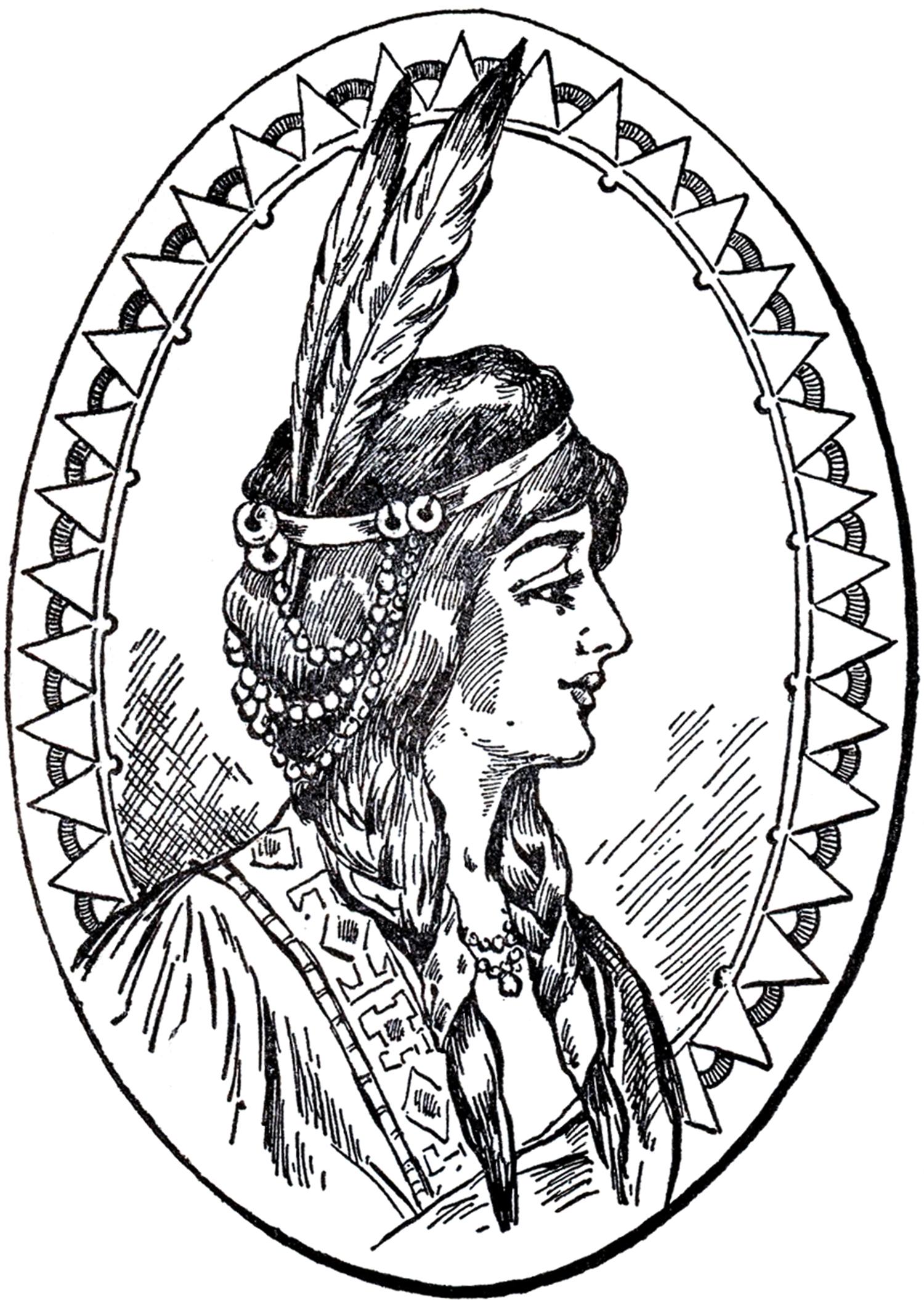 Native American Woman Clip Art - The Graphics Fairy