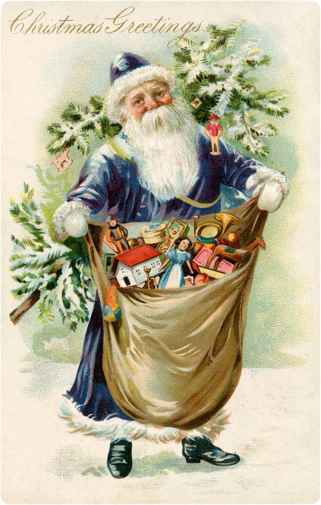 Victorian Santa with Blue Robe