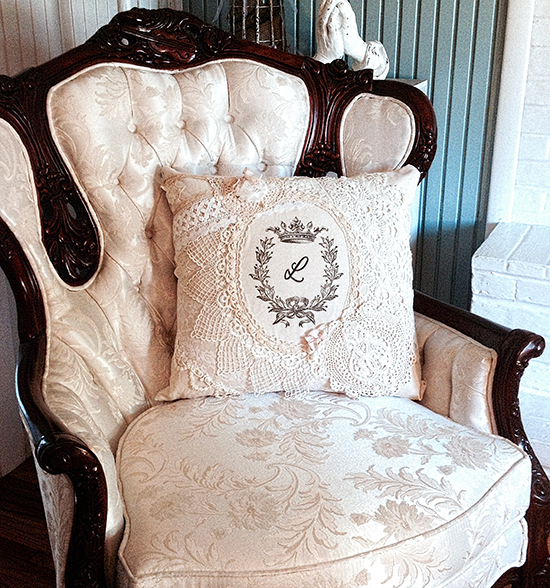 Beautiful Embroidered Lace Pillow