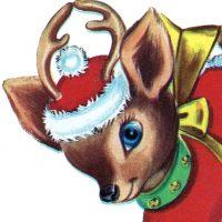 Retro Christmas Reindeer Image