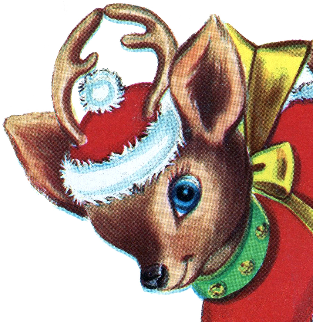 retro christmas reindeer image the graphics fairy - Christmas Reindeer Pictures
