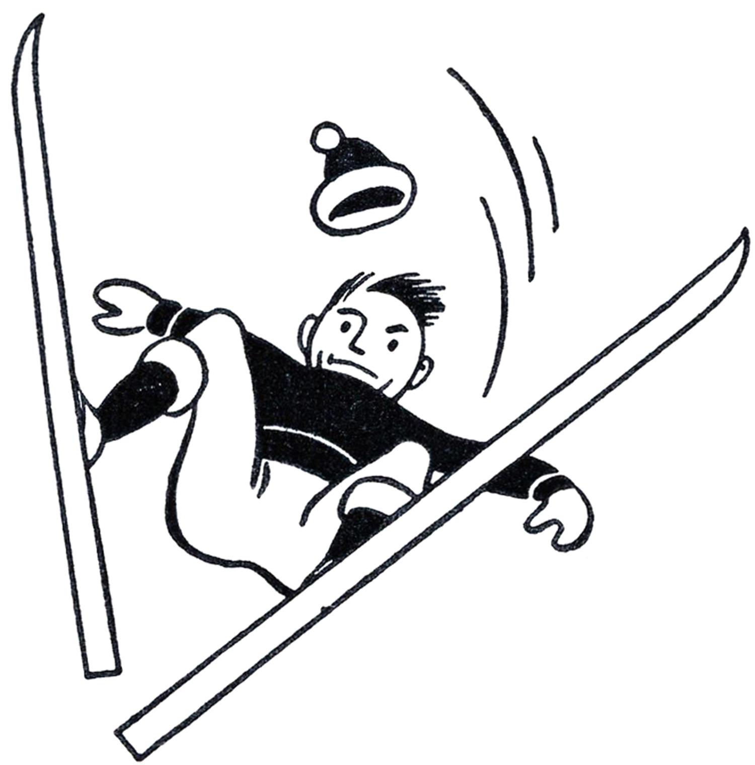 Skiing clipart black and white