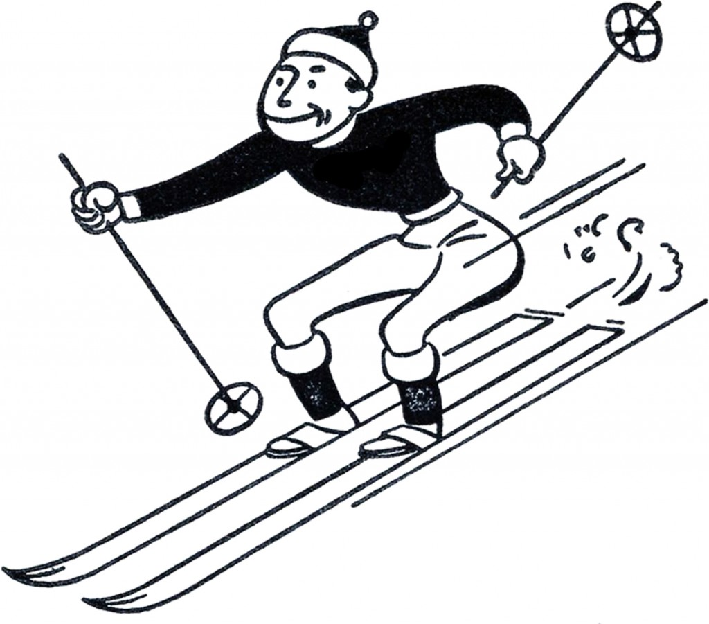 Retro Skiing Clipart
