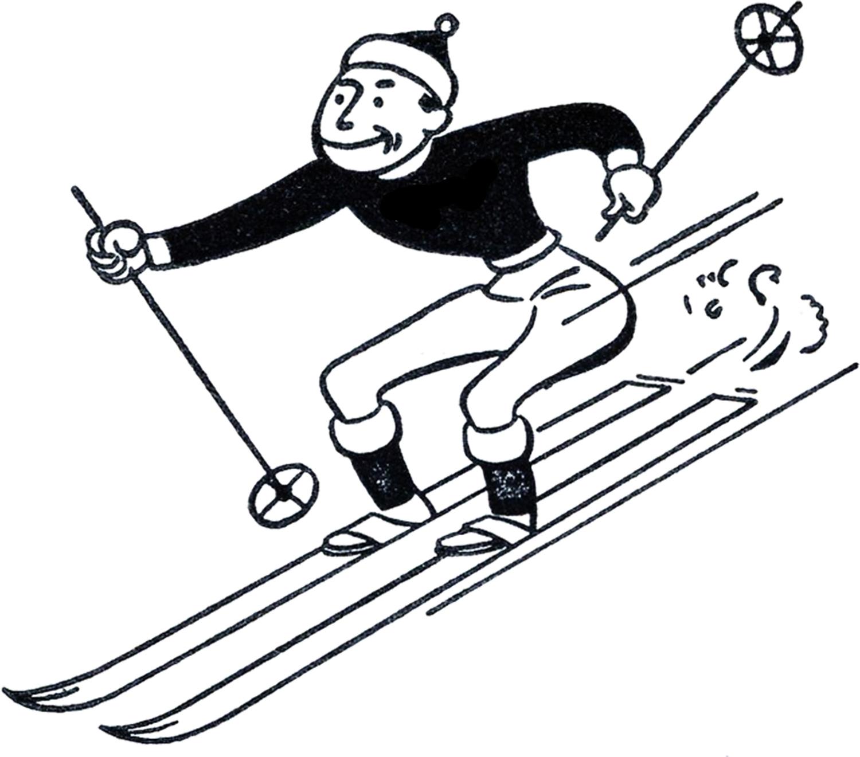 Funny Retro Skiing Clipart - The Graphics Fairy