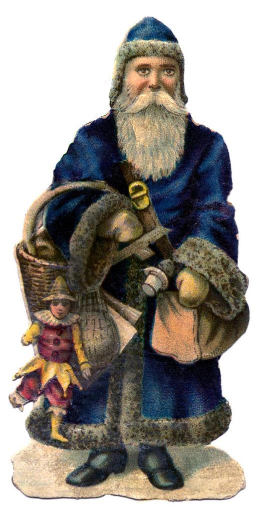 Victorian Scrap Blue Santa Image