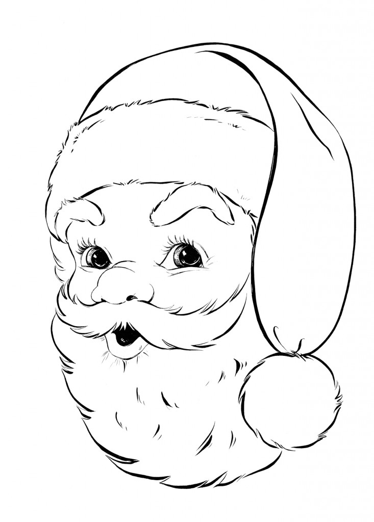 Retro Santa Coloring Page The
