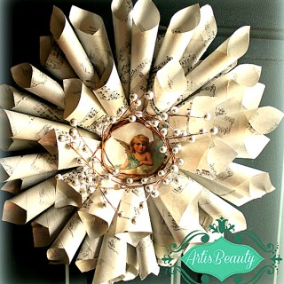Brag Monday – Sheet Music Wreath and Handmade Wedding Card