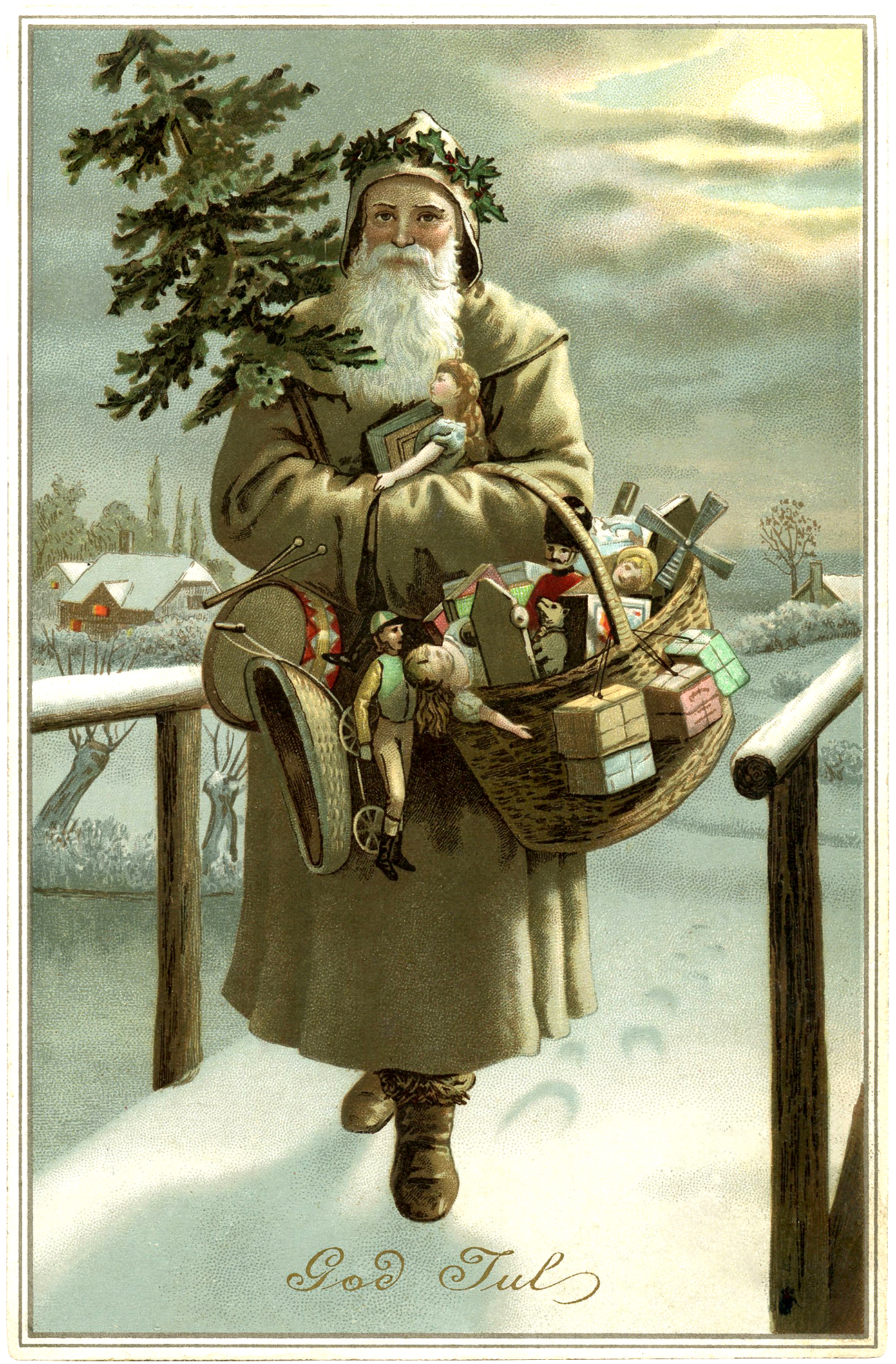 Beautiful Swedish Santa Image - God Jul - The Graphics Fairy