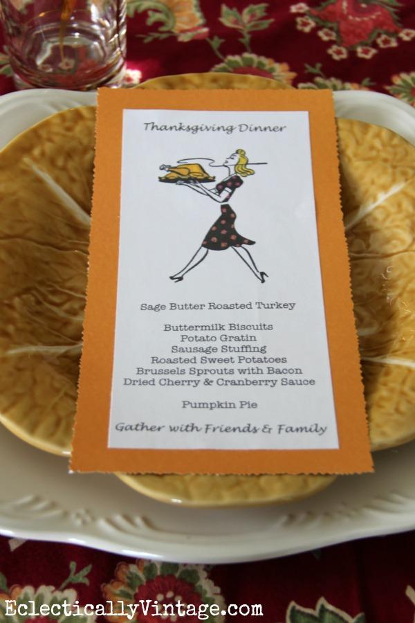 Thanksgiving Menu Cards
