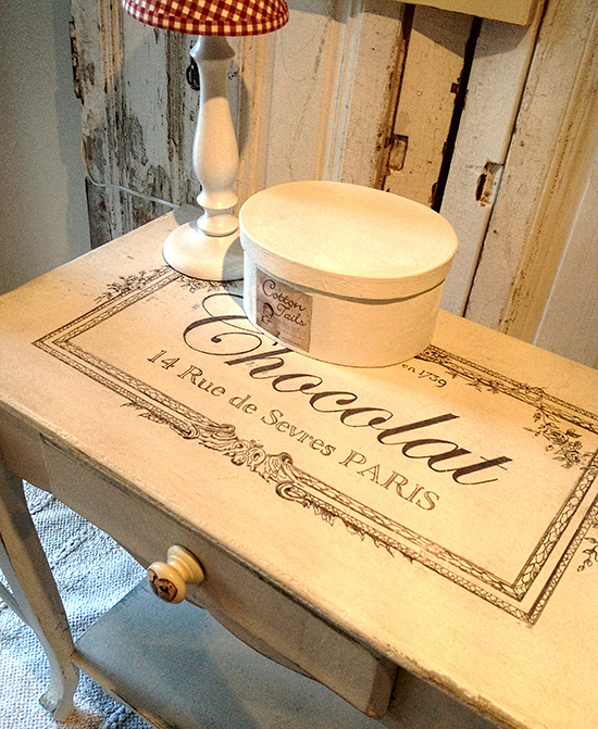 Chalk Paint Table with French Typography