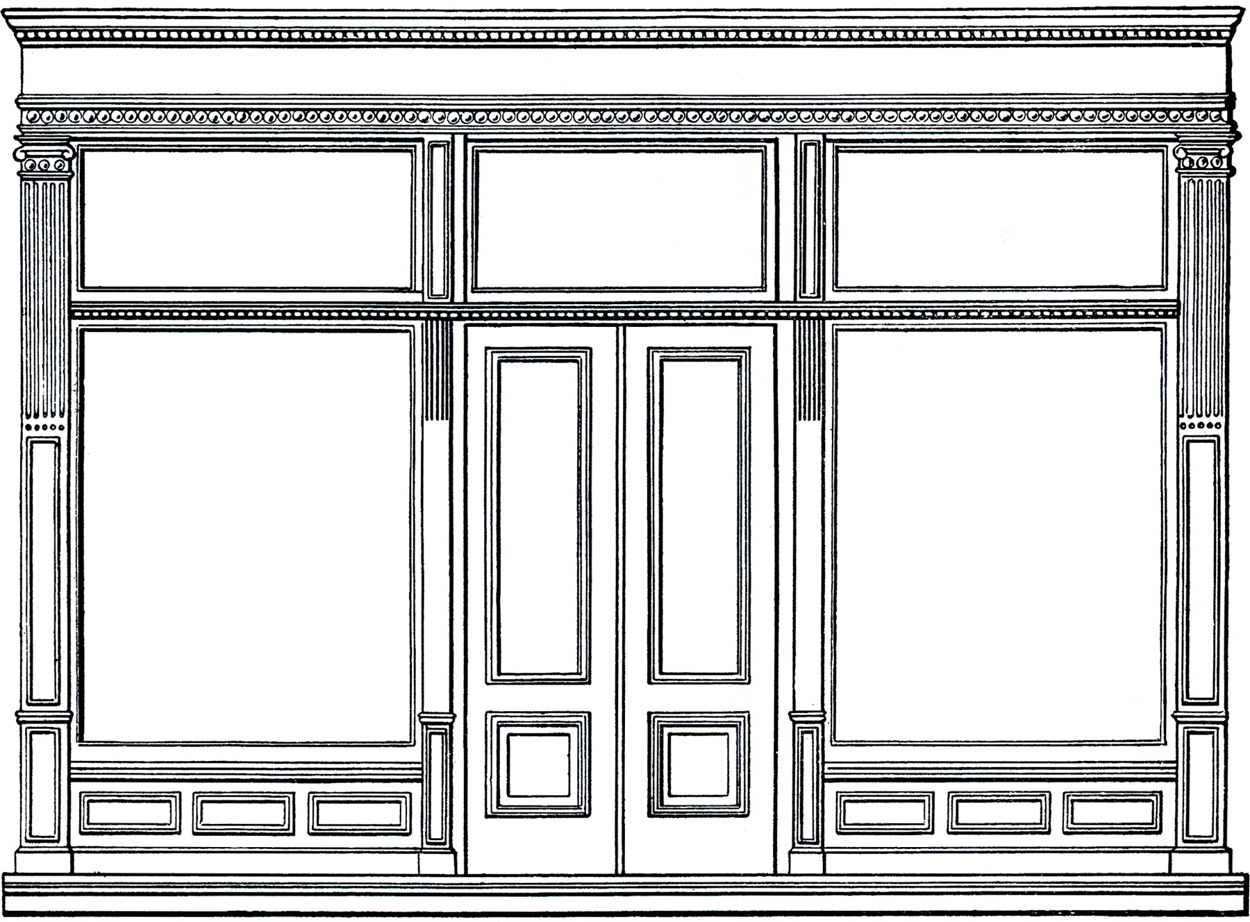 Free architecture clip art store front the graphics fairy for Window design clipart