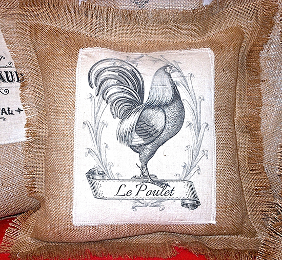 French Rooster Burlap Pillow