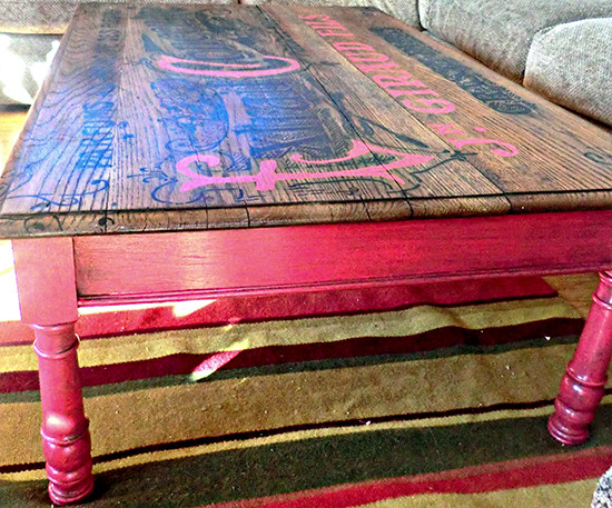 DIY Repurposed Coffee Table with French Graphic