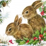 Retro Christmas Bunnies