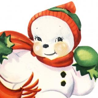 Cute Snowman Image Retro