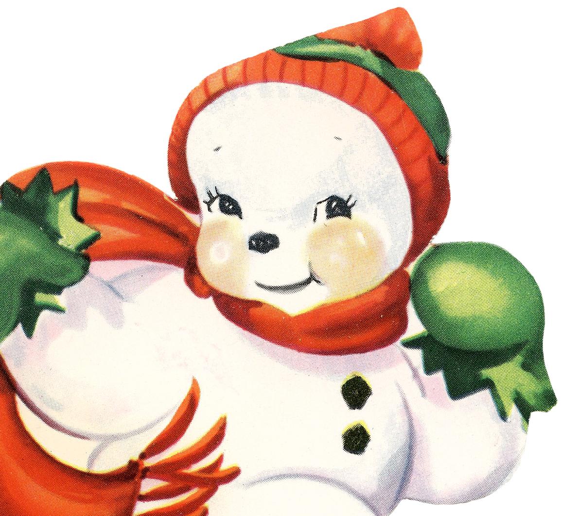 Cute snowman image retro the graphics fairy