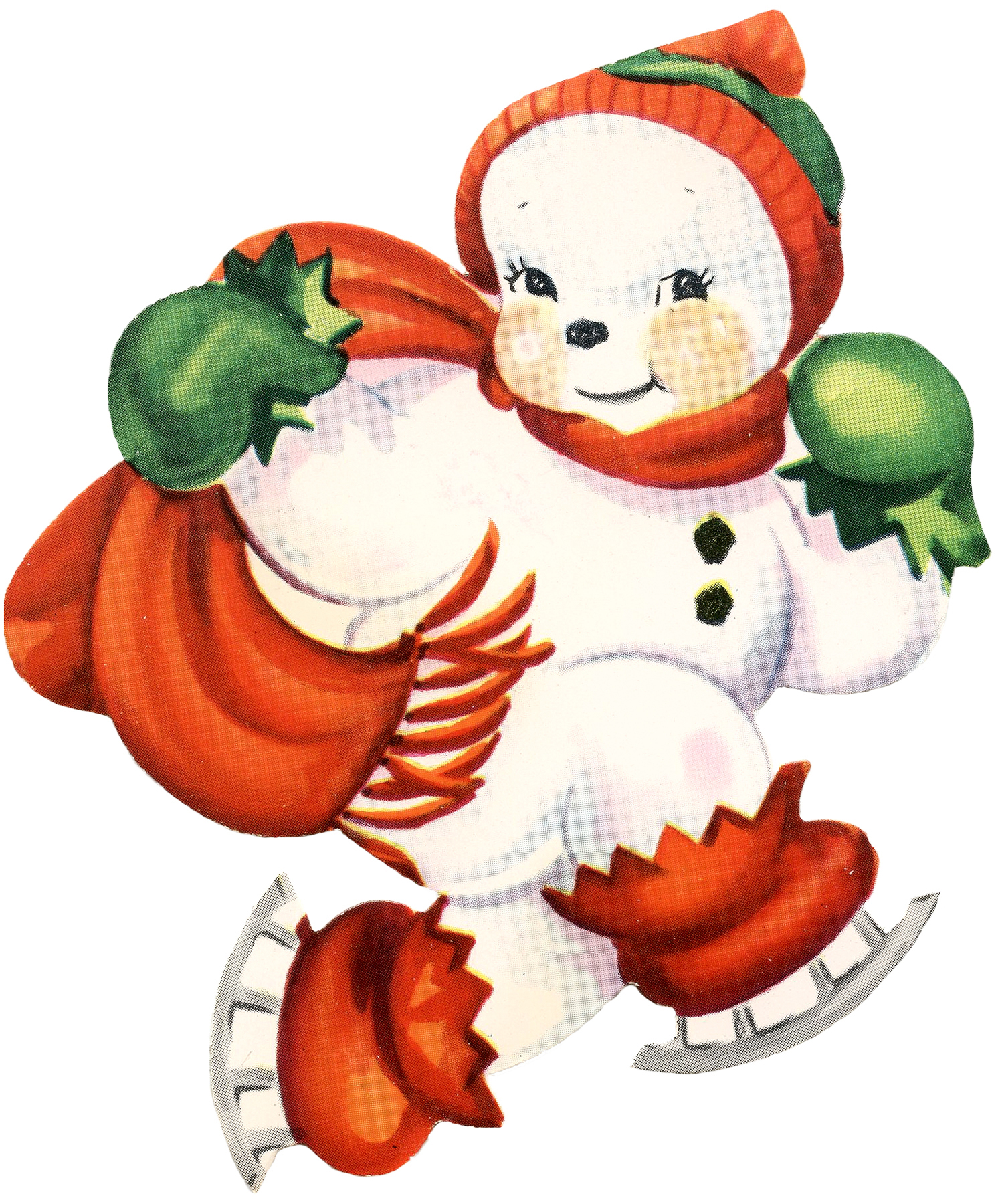Cute snowman image retro the graphics fairy