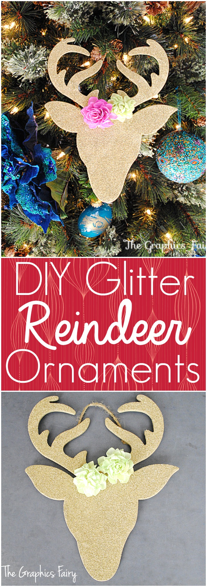 DIY Glitter Reindeer Ornaments - The Graphics Fairy
