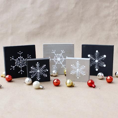 Homemade Christmas Decorations Snowflake Blocks The Graphics Fairy