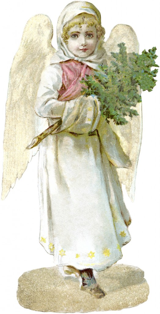 Free Victorian Angel with Christmas Tree Image