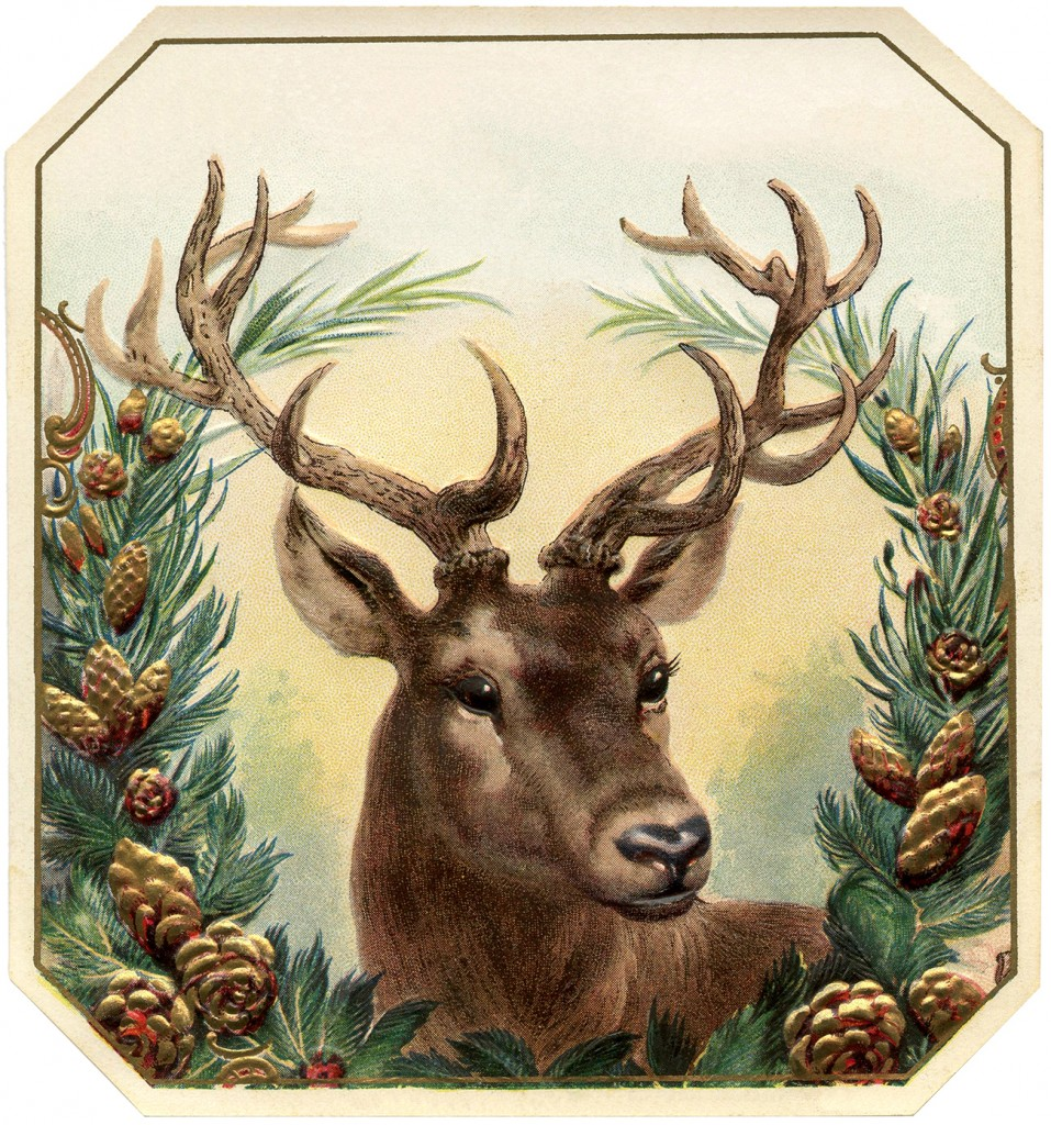 Free Vintage Christmas Image Deer - The Graphics Fairy