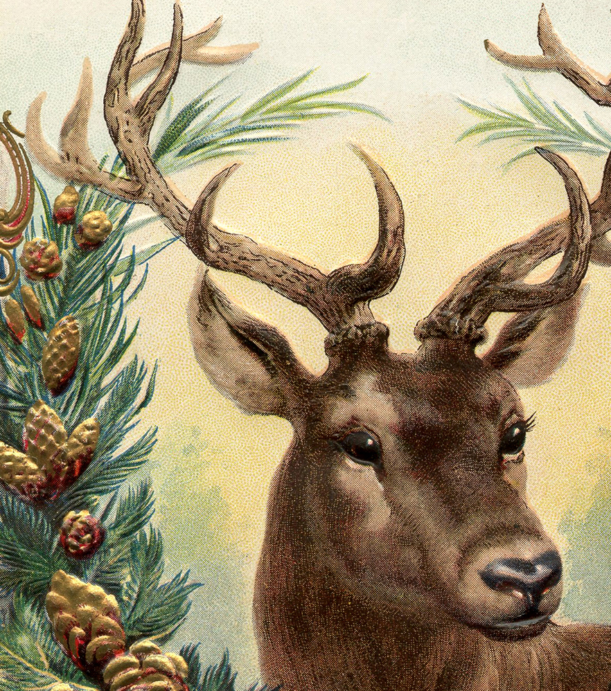 popular valentine's day gifts for her - Free Vintage Christmas Image Deer The Graphics Fairy