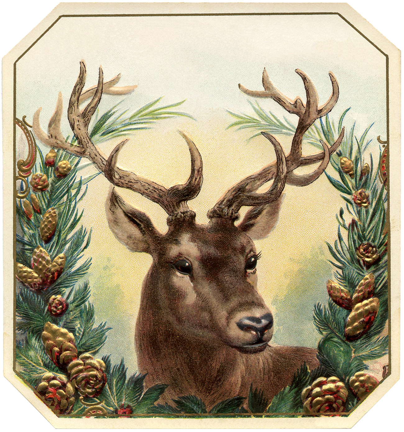 Free Vintage Christmas Image Deer The Graphics Fairy
