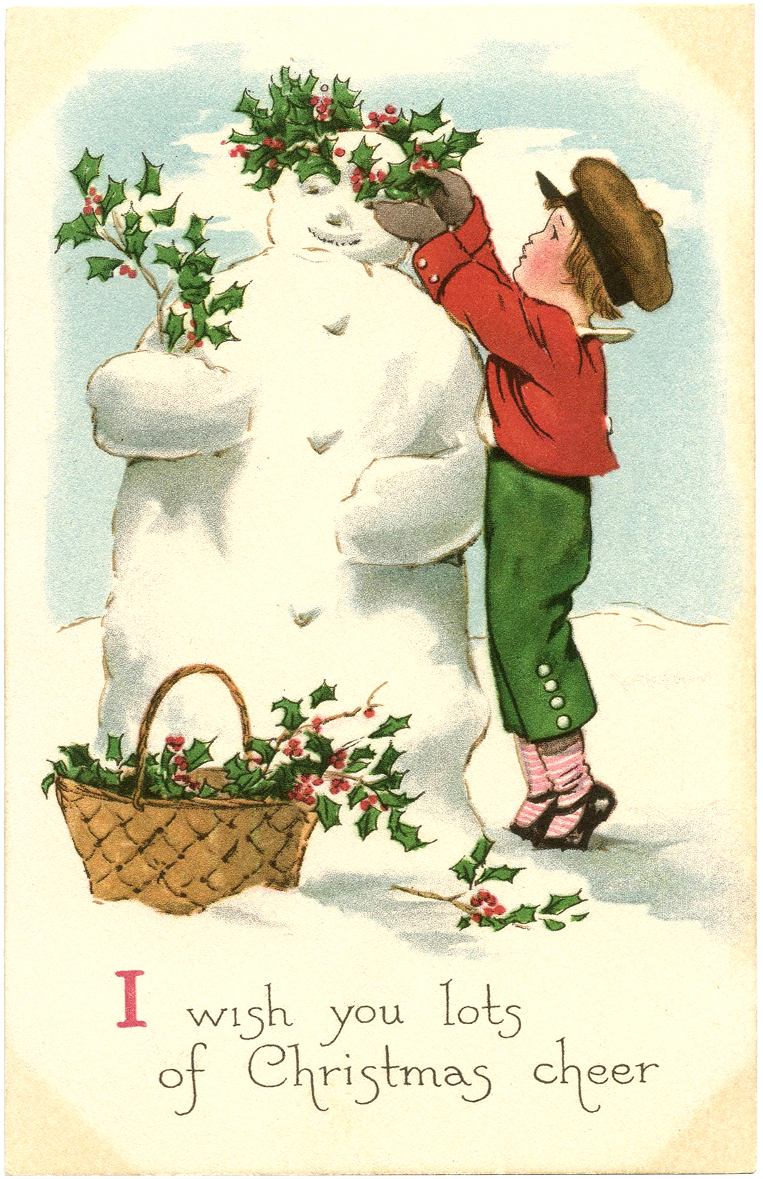Free vintage snowman image the graphics fairy