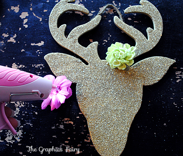Homemade christmas ornaments glitter reindeer the for Paper christmas decorations to make at home