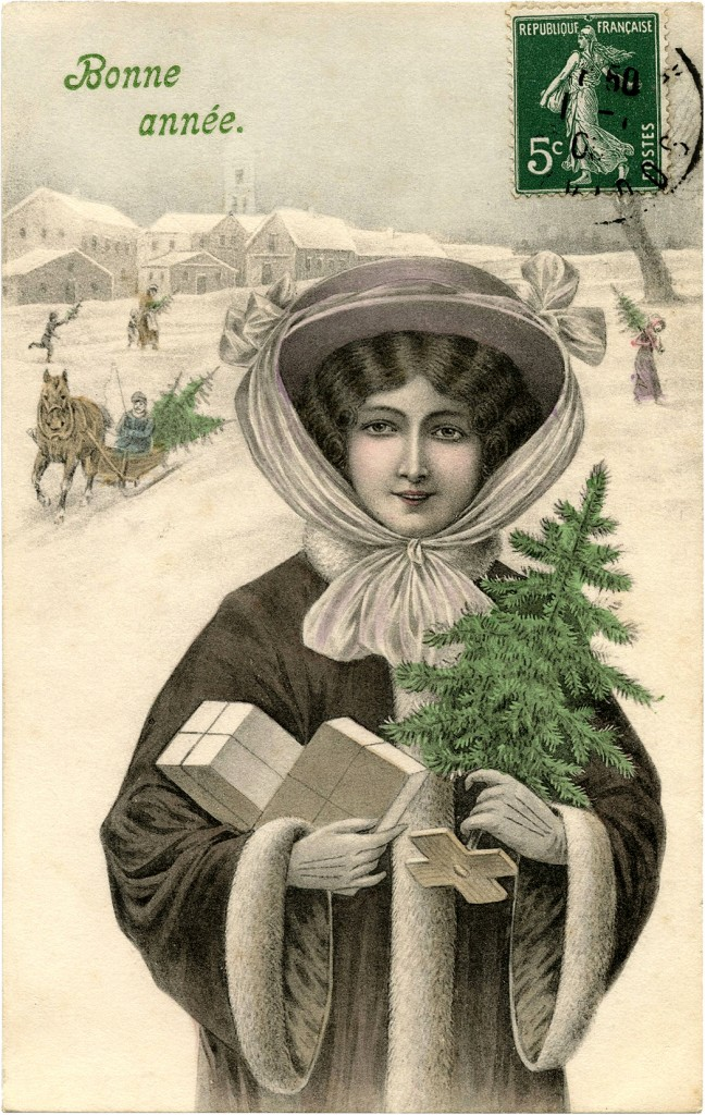 Lady Carrying Tiny Christmas Tree and Packages