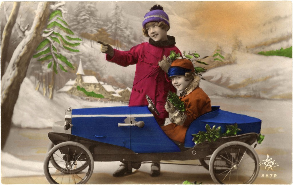 Old Christmas Photo Card Pedal Car