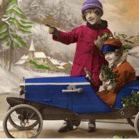 Old Christmas Photo Card Pedal Car