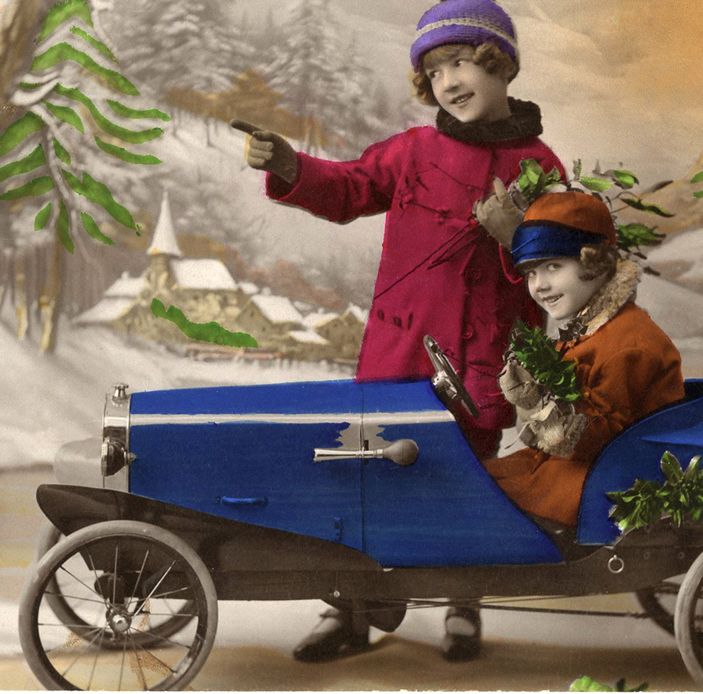 Old Christmas Photo Card Pedal Car - The Graphics Fairy
